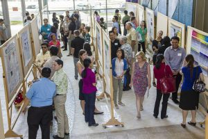 Photo of poster session with rows of poster boards and people walking and discussing the posters